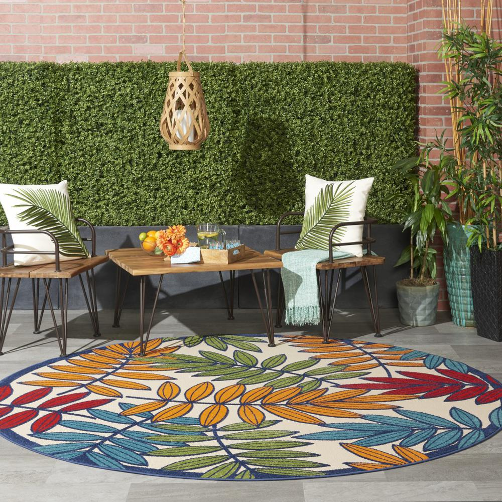 8' Round Multicolored Leaves Indoor Outdoor Area Rug - 384948. Picture 4