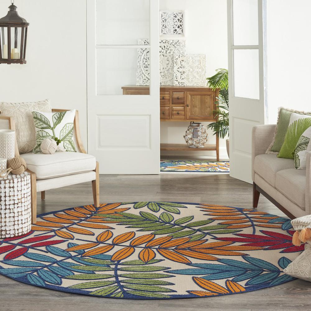 8' Round Multicolored Leaves Indoor Outdoor Area Rug - 384948. Picture 6