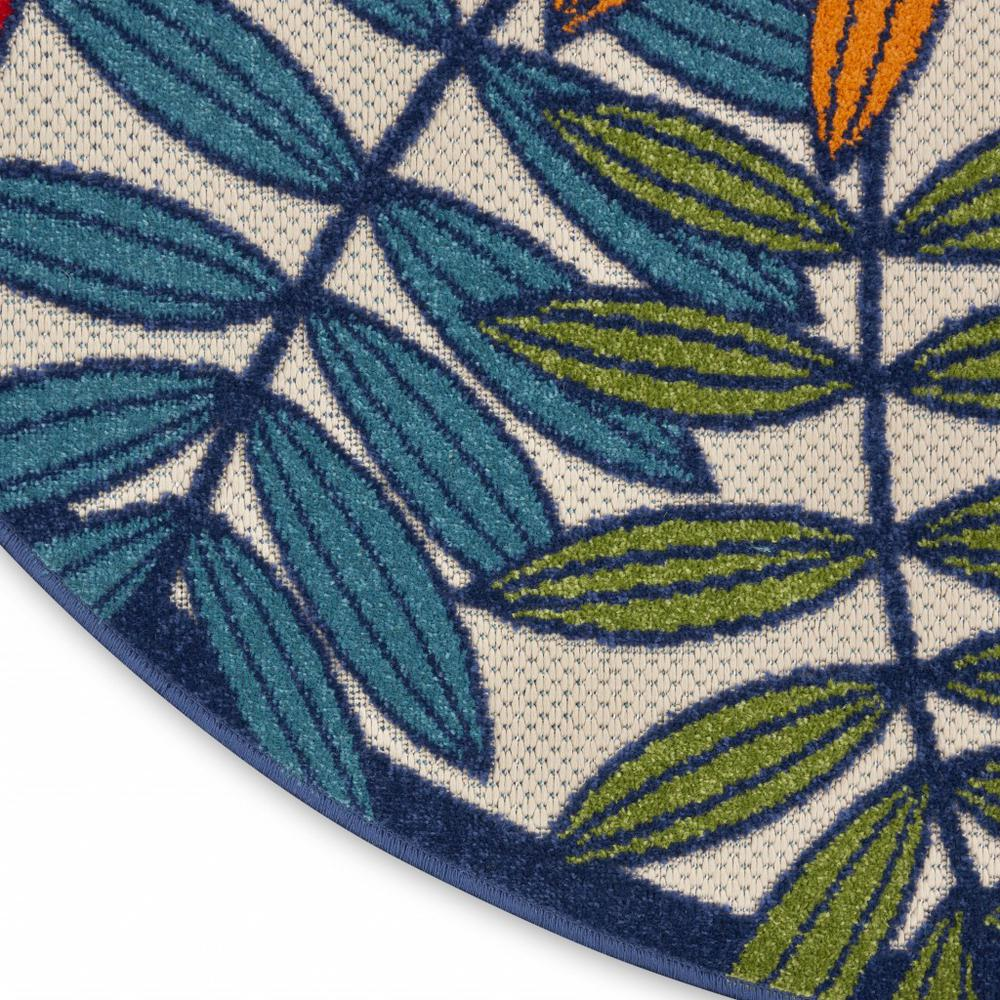 8' Round Multicolored Leaves Indoor Outdoor Area Rug - 384948. Picture 7
