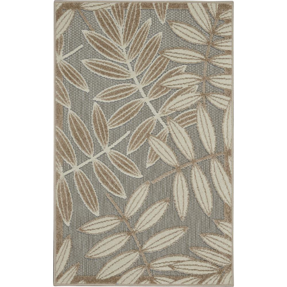 3' x 4' Natural Leaves Indoor Outdoor Area Rug - 384953. Picture 1