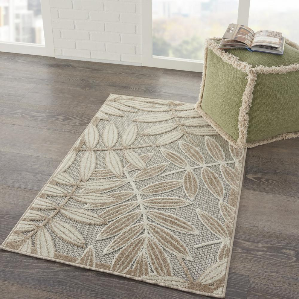 3' x 4' Natural Leaves Indoor Outdoor Area Rug - 384953. Picture 6