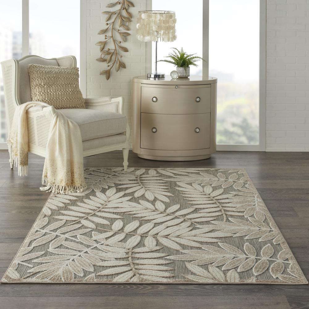 4' x 6' Natural Leaves Indoor Outdoor Area Rug - 384954. Picture 4