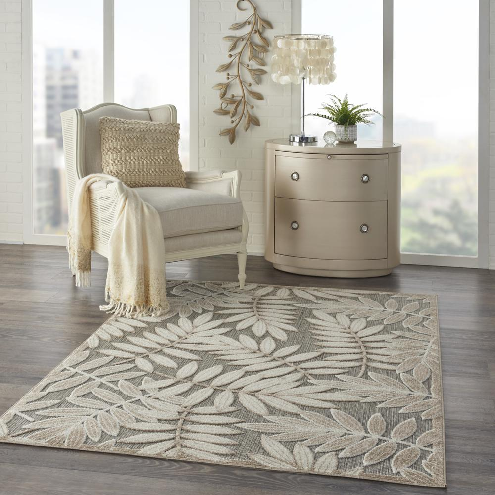4' x 6' Natural Leaves Indoor Outdoor Area Rug - 384954. Picture 6