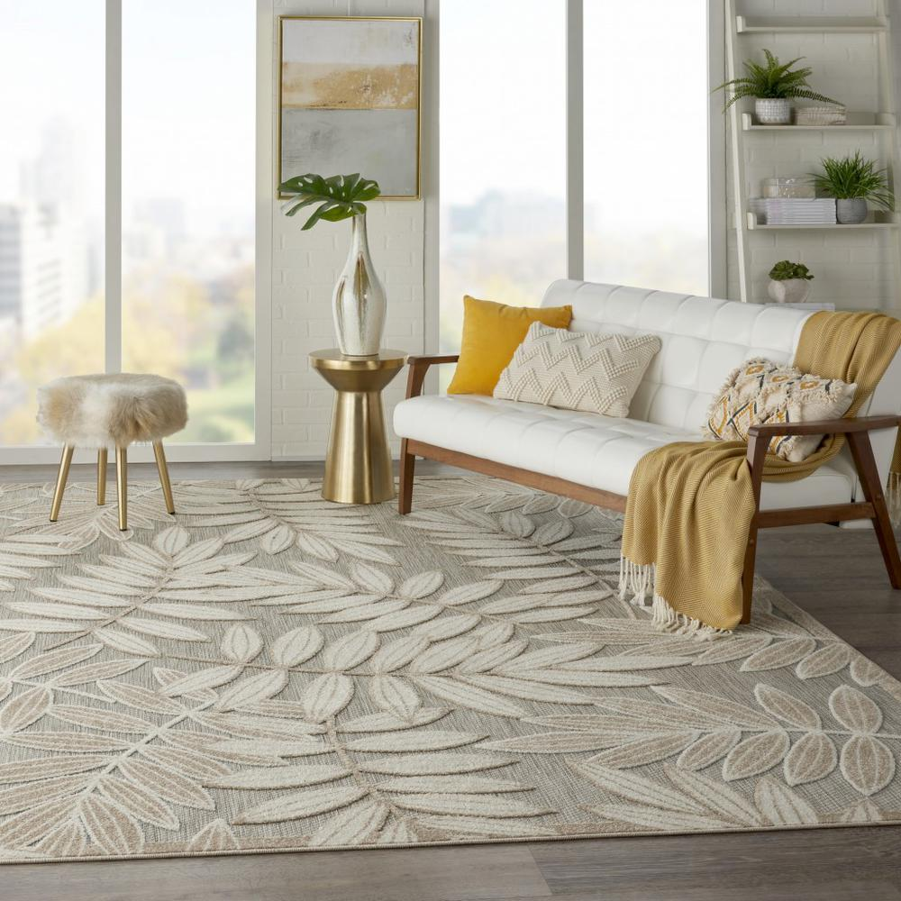 8' x 11' Natural Leaves Indoor Outdoor Area Rug - 384960. Picture 6