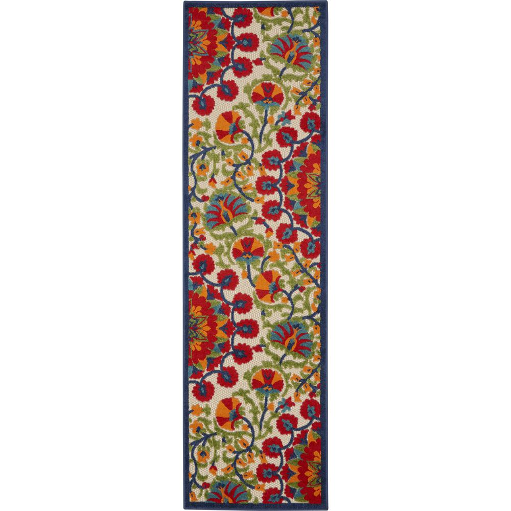 2' x 6' Red and Multicolor Indoor Outdoor Runner Rug - 384990. Picture 1
