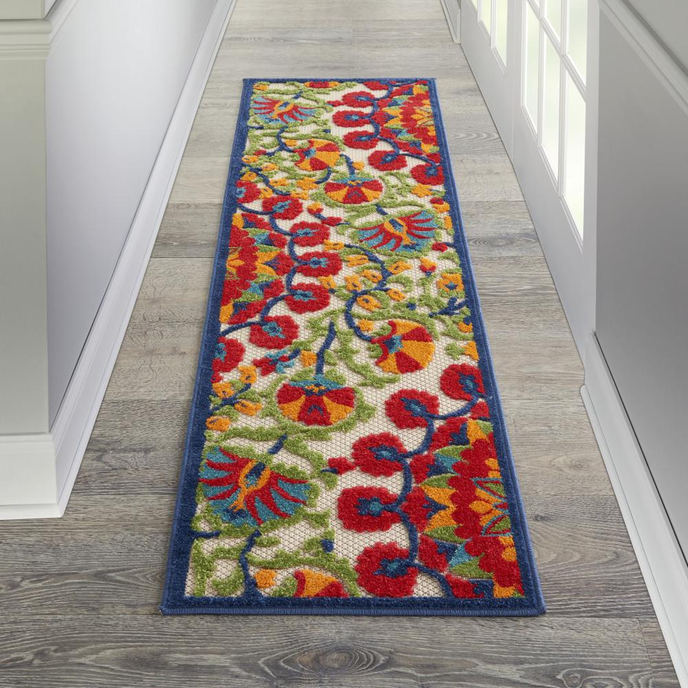 2' x 6' Red and Multicolor Indoor Outdoor Runner Rug - 384990. Picture 4