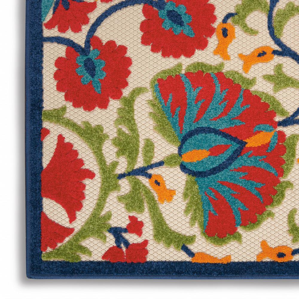 2' x 6' Red and Multicolor Indoor Outdoor Runner Rug - 384990. Picture 5