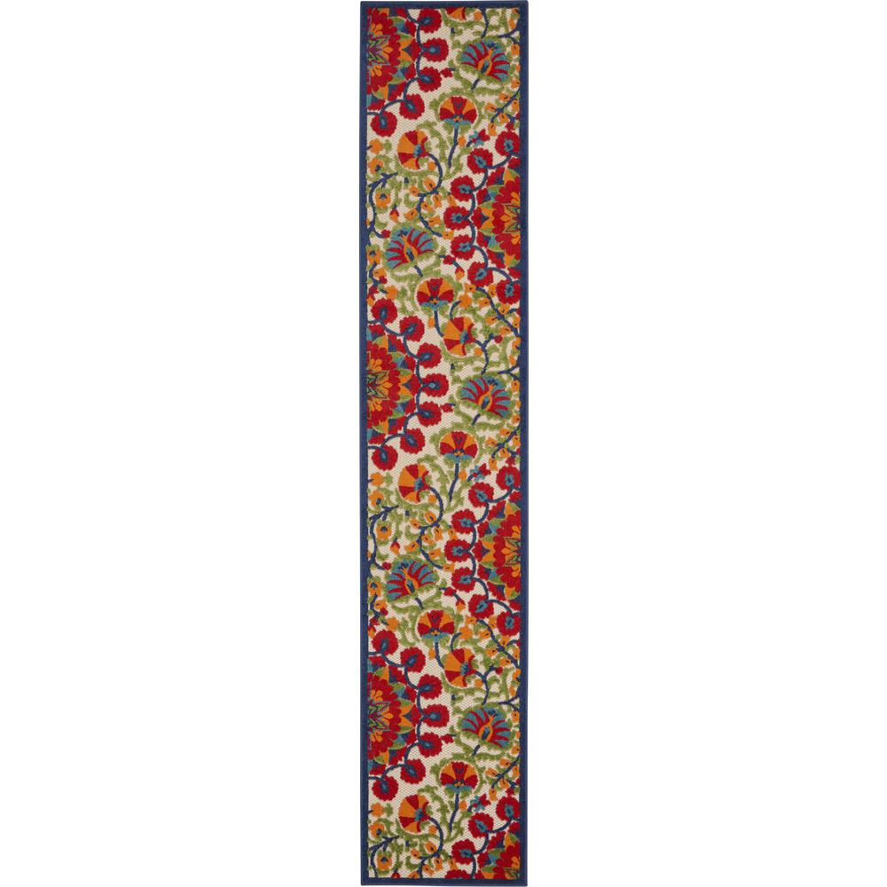 2' x 12' Red and Multicolor Indoor Outdoor Runner Rug - 384993. Picture 1