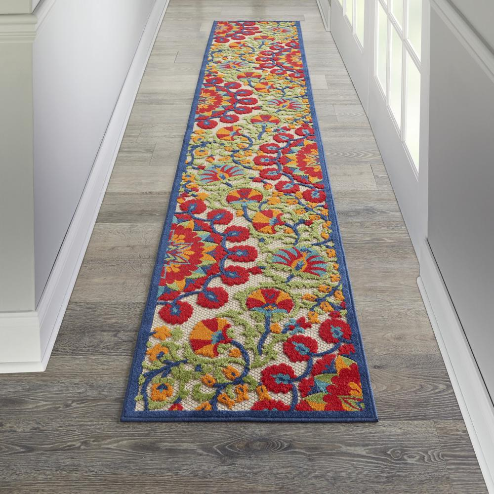 2' x 12' Red and Multicolor Indoor Outdoor Runner Rug - 384993. Picture 4
