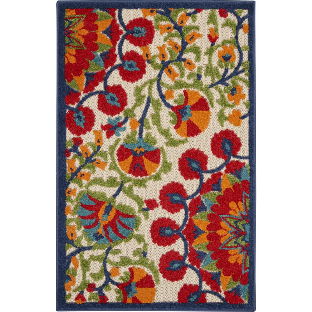 3' x 4' Red and Multicolor Indoor Outdoor Area Rug - 384994. Picture 1