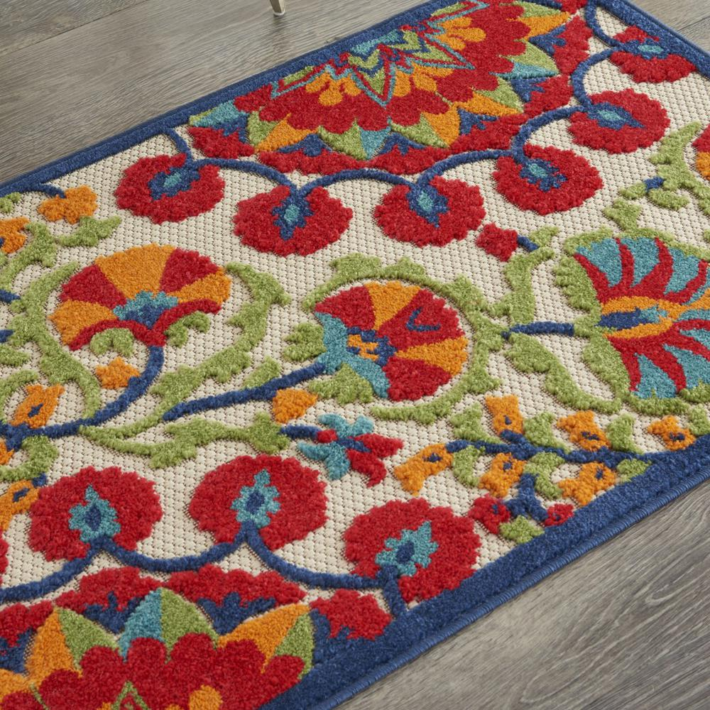 3' x 4' Red and Multicolor Indoor Outdoor Area Rug - 384994. Picture 5
