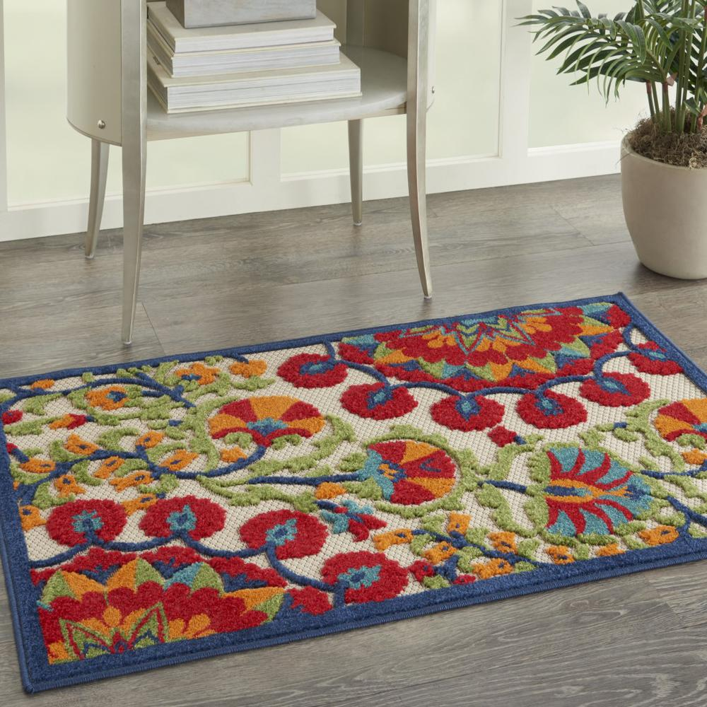 3' x 4' Red and Multicolor Indoor Outdoor Area Rug - 384994. Picture 6