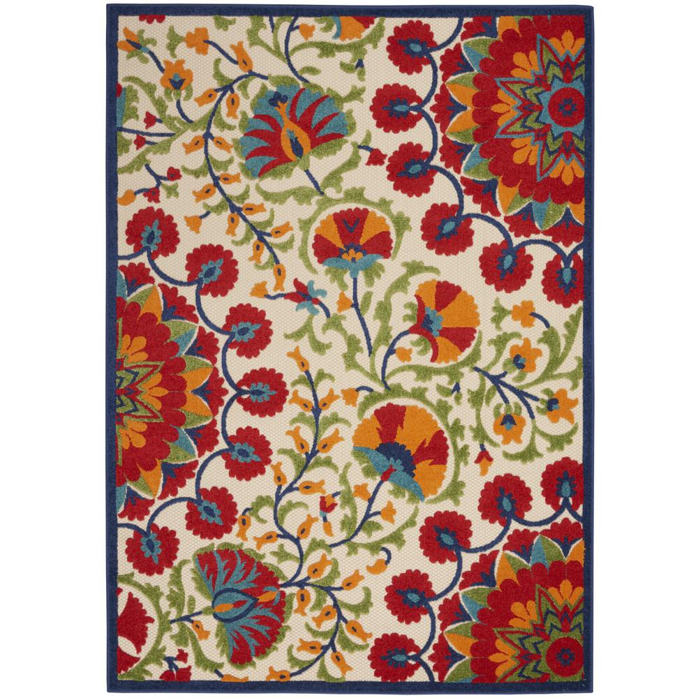 7' x 10' Red and Multicolor Indoor Outdoor Area Rug - 384996. Picture 1