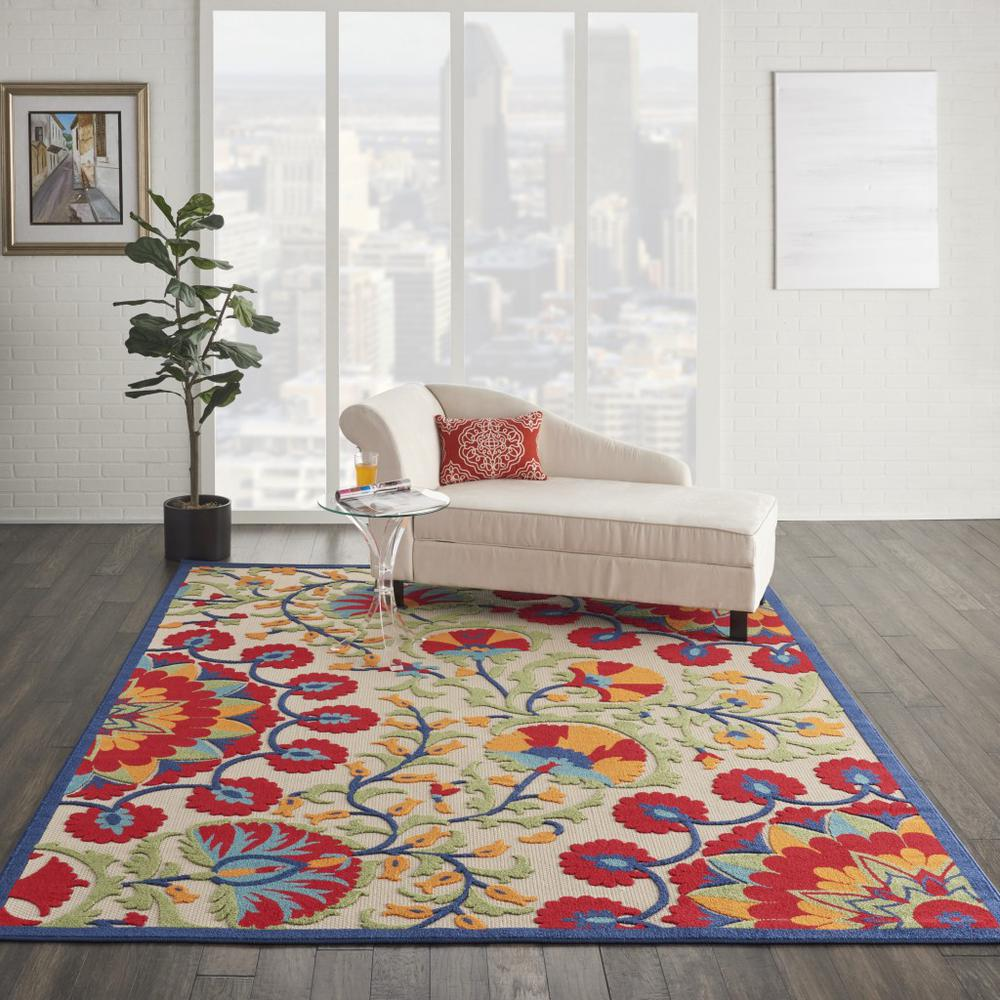7' x 10' Red and Multicolor Indoor Outdoor Area Rug - 384996. Picture 4