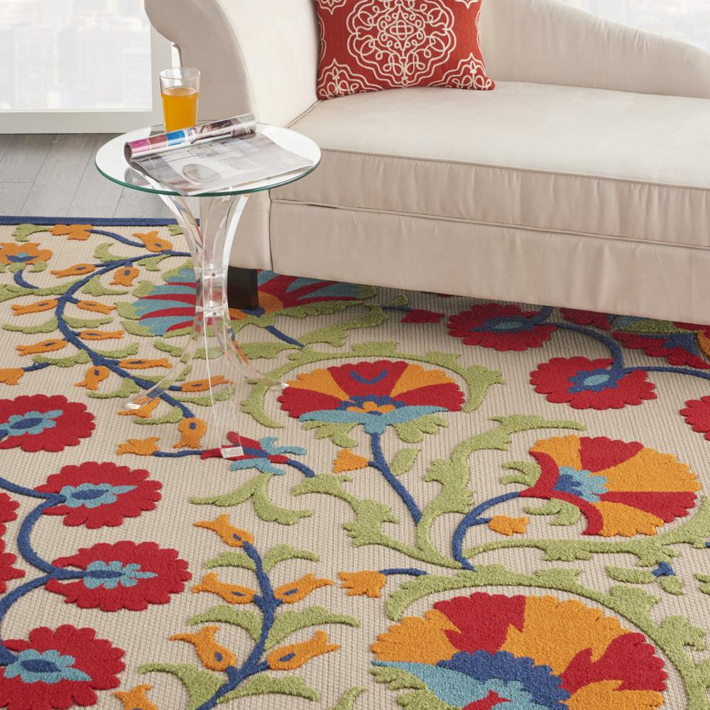 7' x 10' Red and Multicolor Indoor Outdoor Area Rug - 384996. Picture 5
