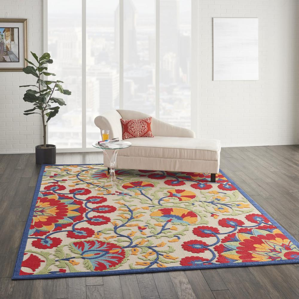 7' x 10' Red and Multicolor Indoor Outdoor Area Rug - 384996. Picture 6