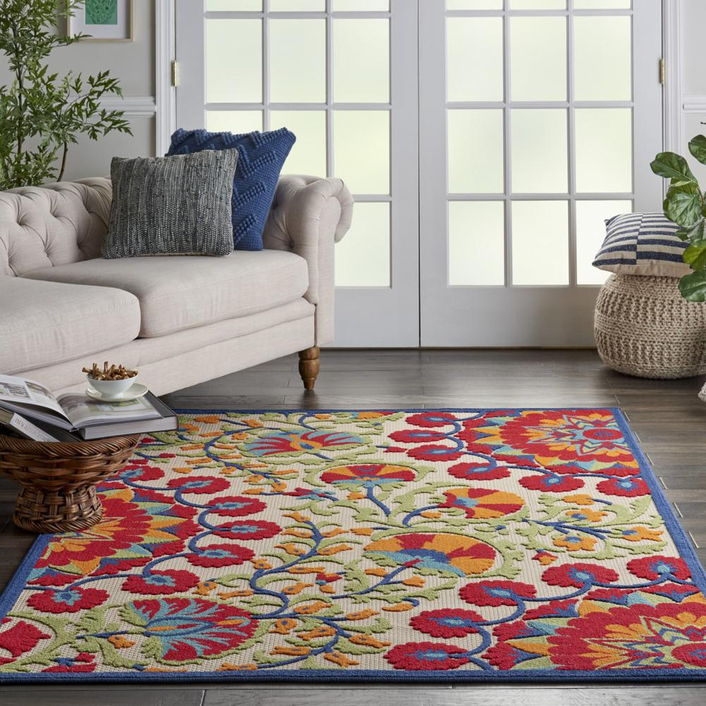 4' x 6' Red and Multicolor Indoor Outdoor Area Rug - 384997. Picture 4