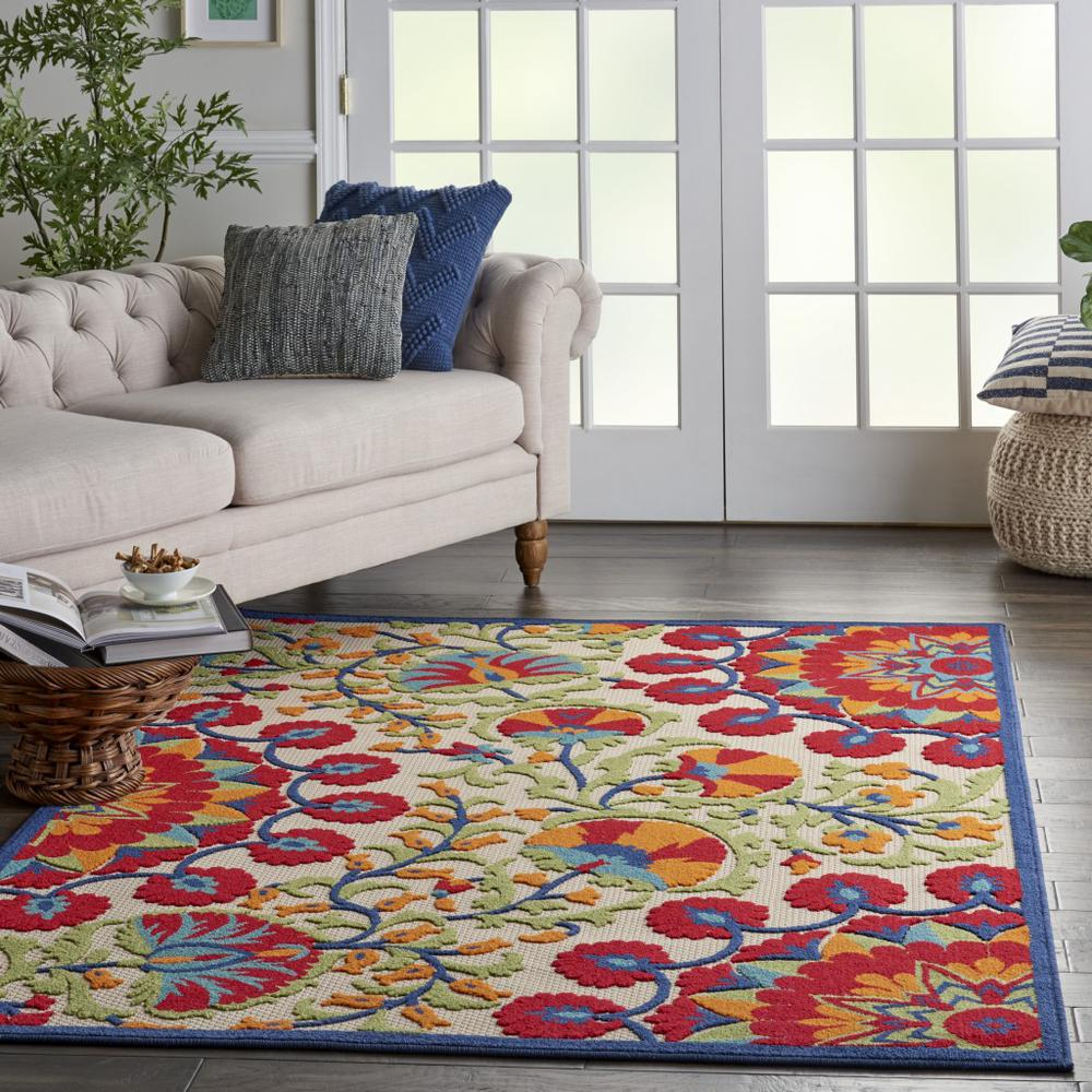 4' x 6' Red and Multicolor Indoor Outdoor Area Rug - 384997. Picture 6