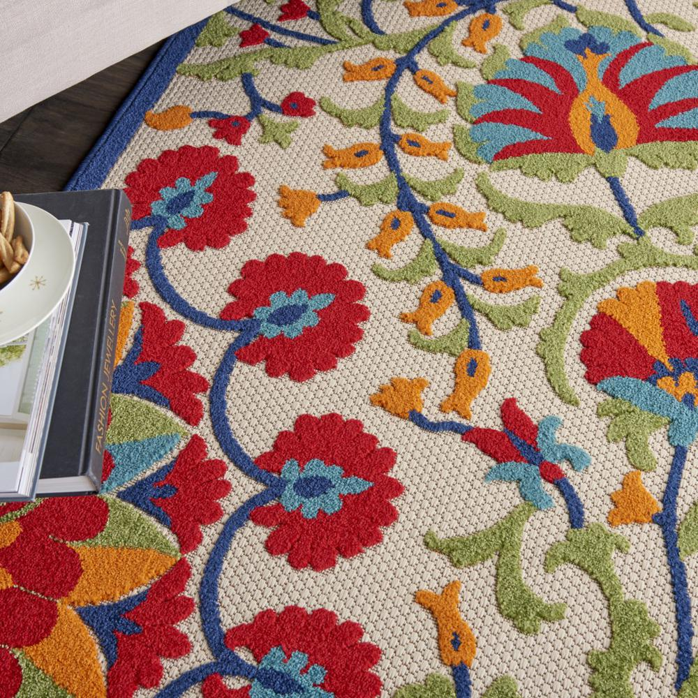 5' x 8' Red and Multicolor Indoor Outdoor Area Rug - 384999. Picture 5