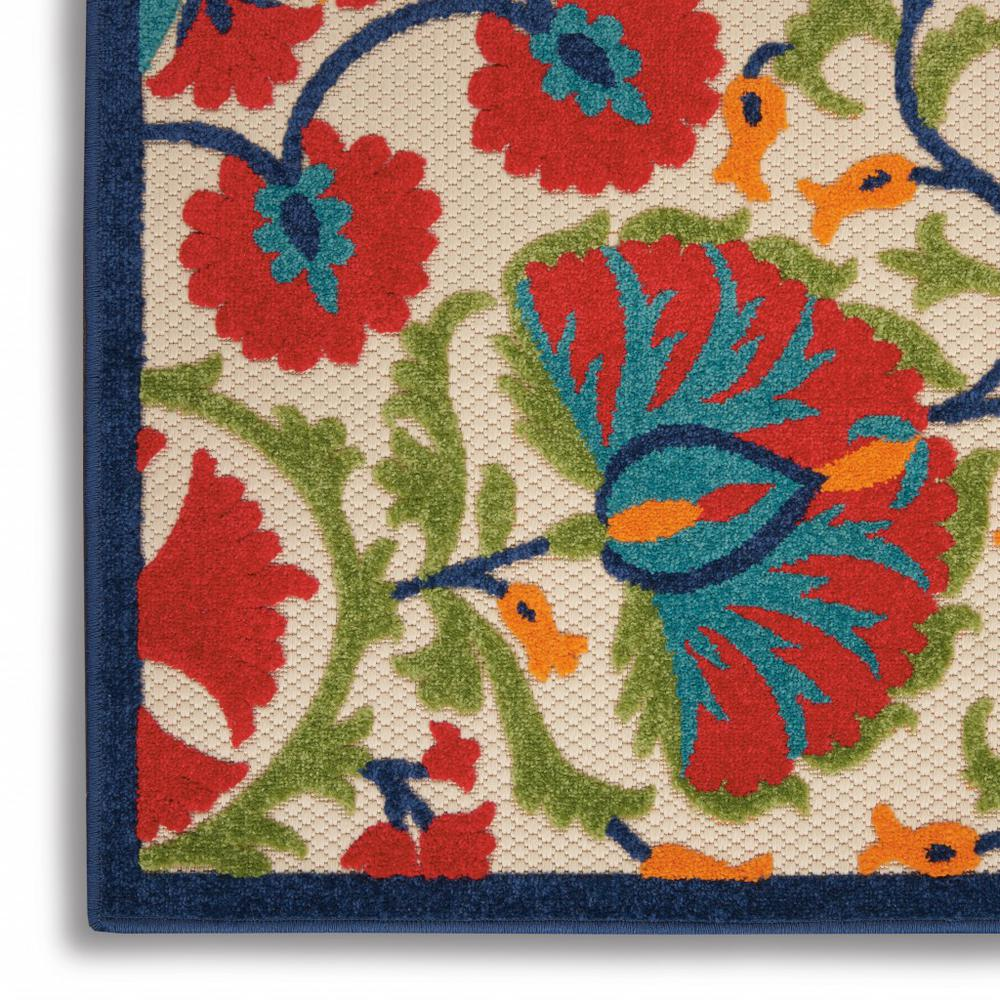 5' x 8' Red and Multicolor Indoor Outdoor Area Rug - 384999. Picture 7