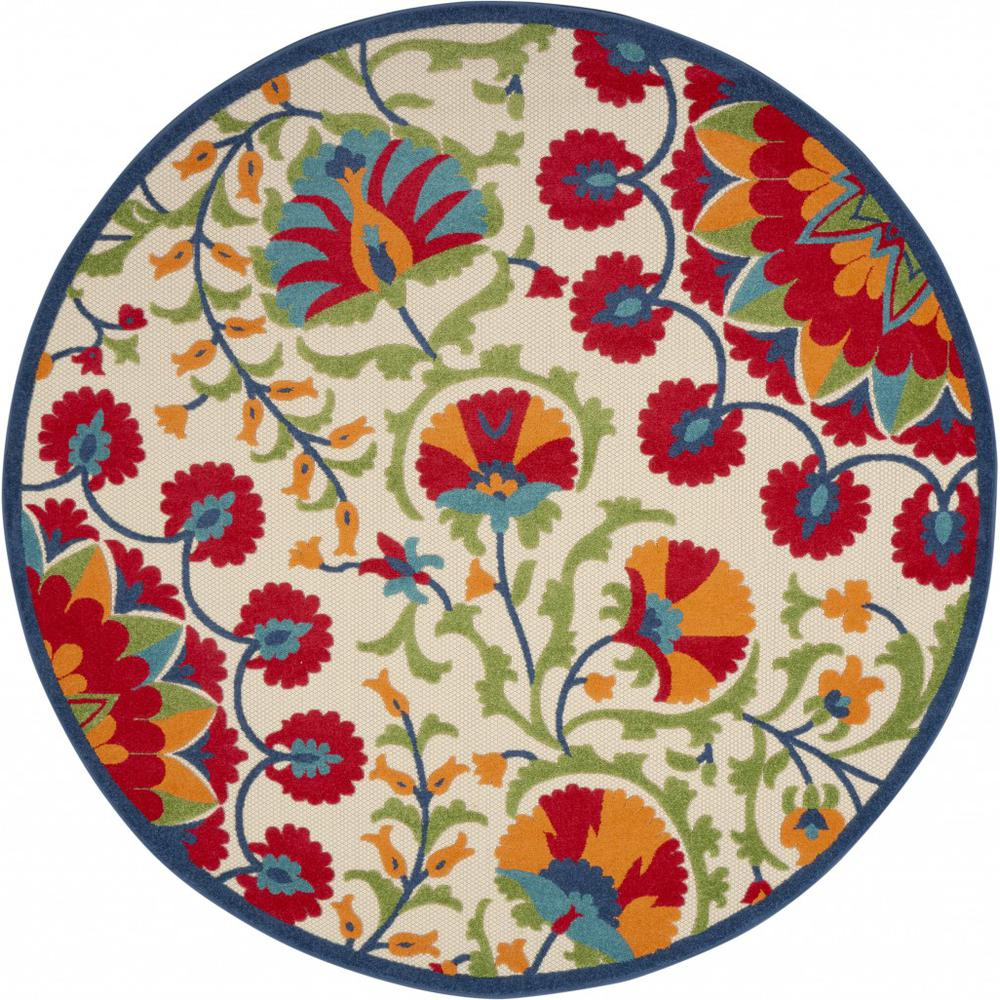 8' Round Red and Multicolor Indoor Outdoor Area Rug - 385002. Picture 1