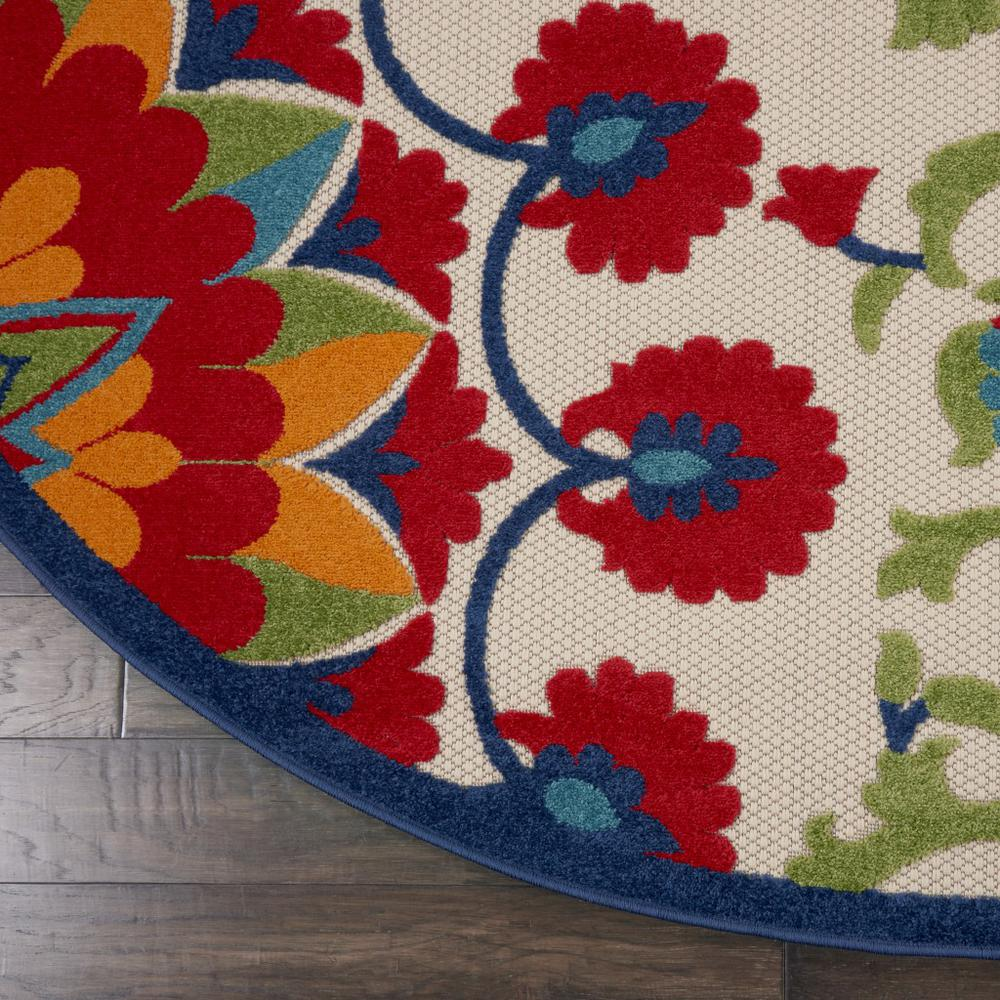 8' Round Red and Multicolor Indoor Outdoor Area Rug - 385002. Picture 2