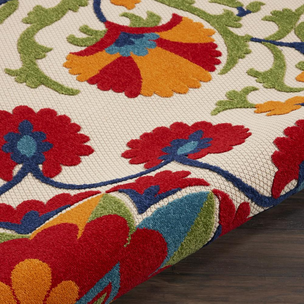 8' Round Red and Multicolor Indoor Outdoor Area Rug - 385002. Picture 3