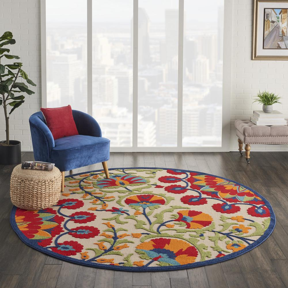 8' Round Red and Multicolor Indoor Outdoor Area Rug - 385002. Picture 4