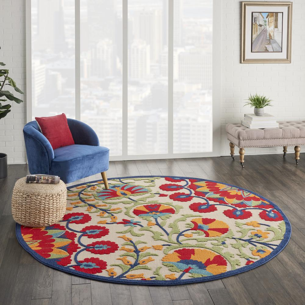 8' Round Red and Multicolor Indoor Outdoor Area Rug - 385002. Picture 6