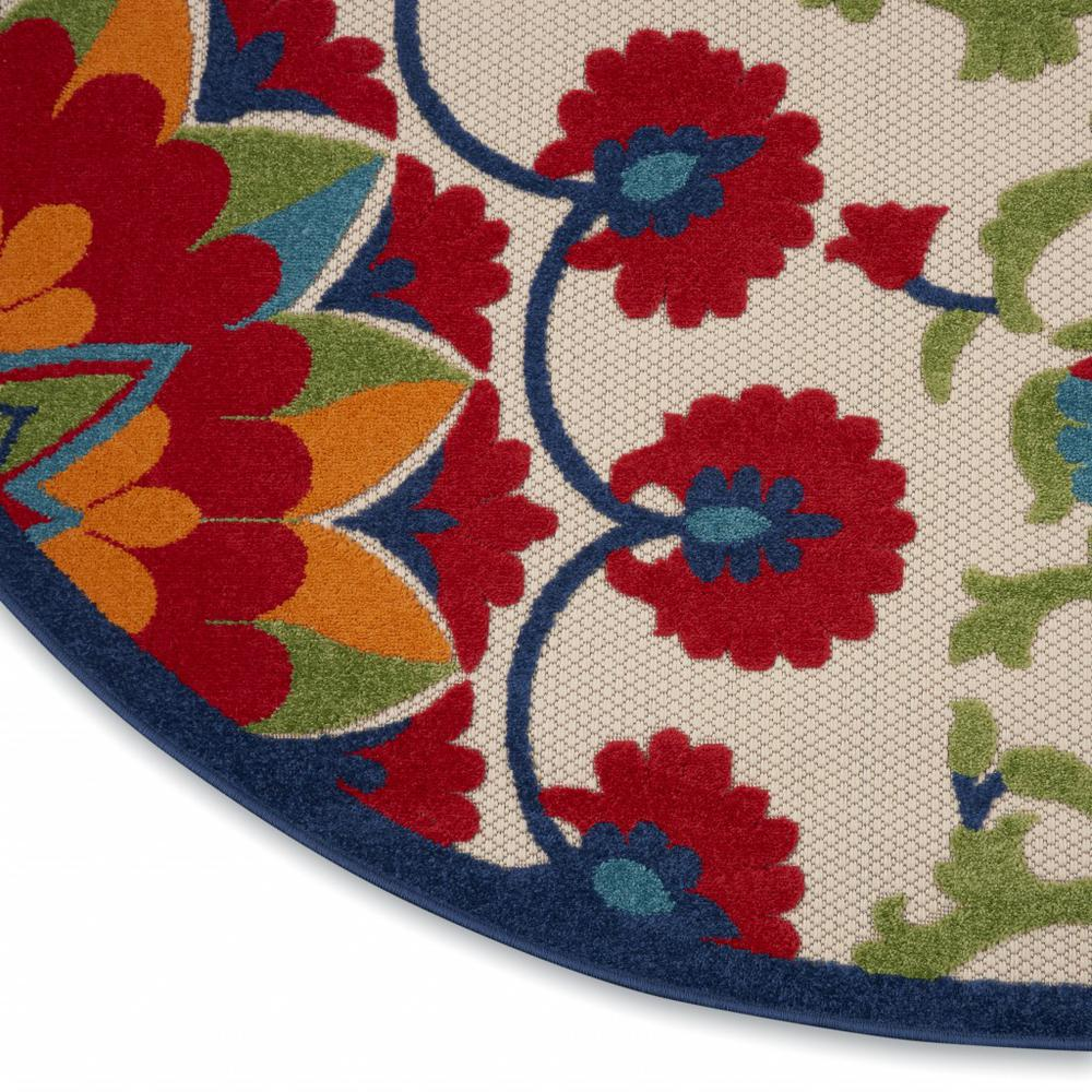 8' Round Red and Multicolor Indoor Outdoor Area Rug - 385002. Picture 7