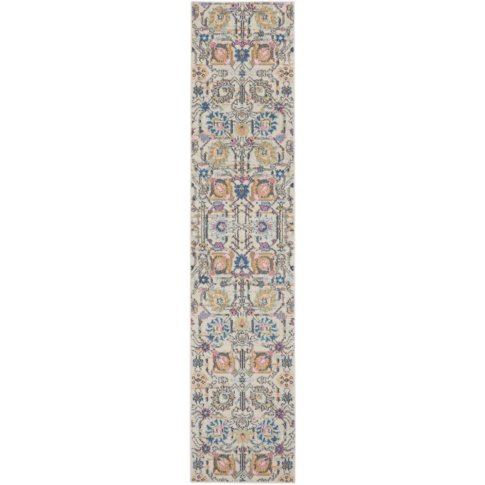 2' x 10' Ivory and Multicolor Floral Buds Runner Rug - 385203. Picture 1