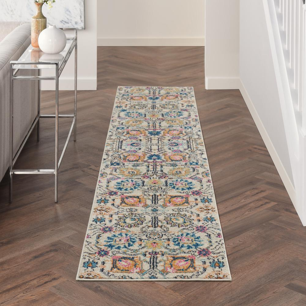 2' x 10' Ivory and Multicolor Floral Buds Runner Rug - 385203. Picture 4