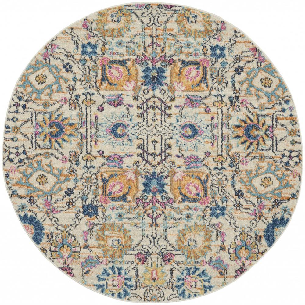 4' Round Ivory and Multicolor Floral Buds Area Rug - 385209. Picture 1