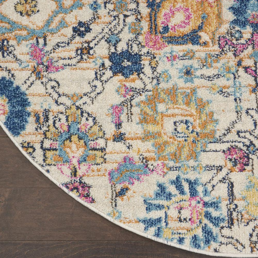 4' Round Ivory and Multicolor Floral Buds Area Rug - 385209. Picture 2