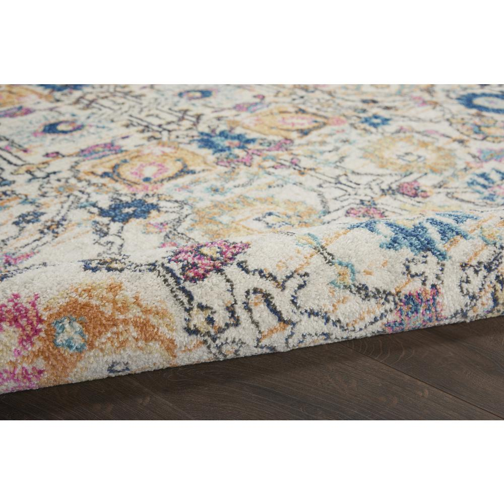 4' Round Ivory and Multicolor Floral Buds Area Rug - 385209. Picture 3