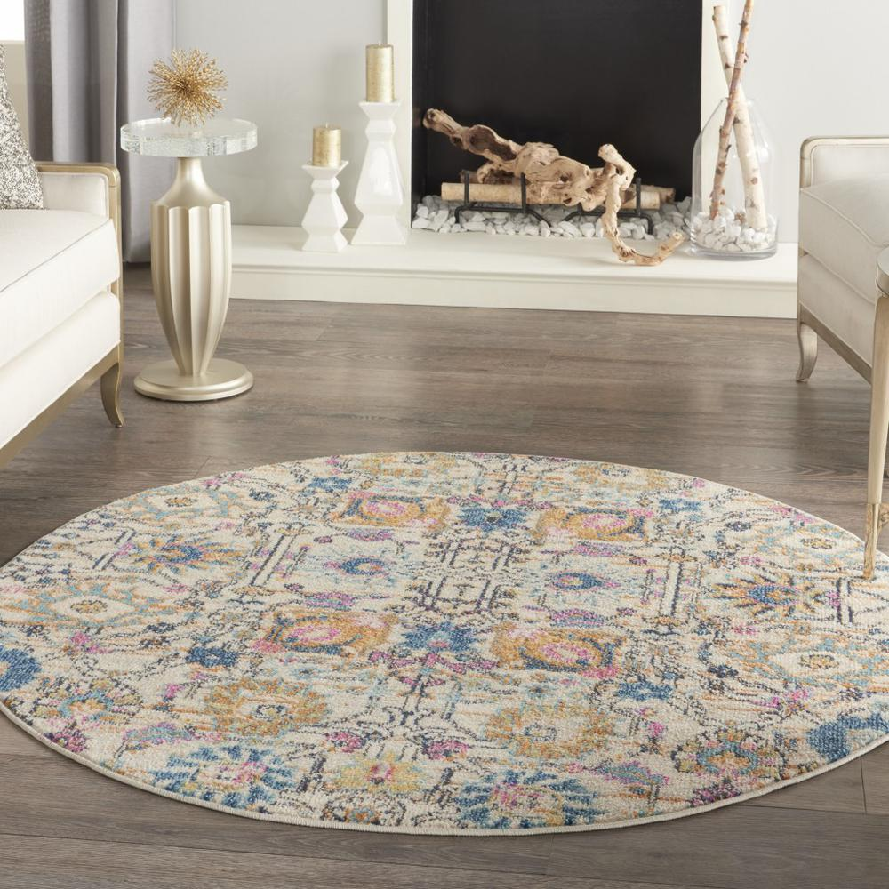 4' Round Ivory and Multicolor Floral Buds Area Rug - 385209. Picture 4