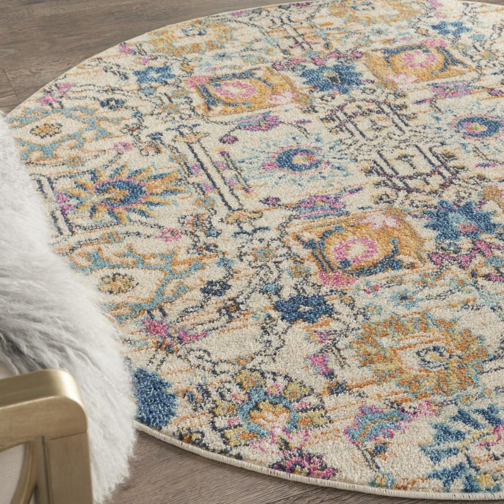 4' Round Ivory and Multicolor Floral Buds Area Rug - 385209. Picture 5