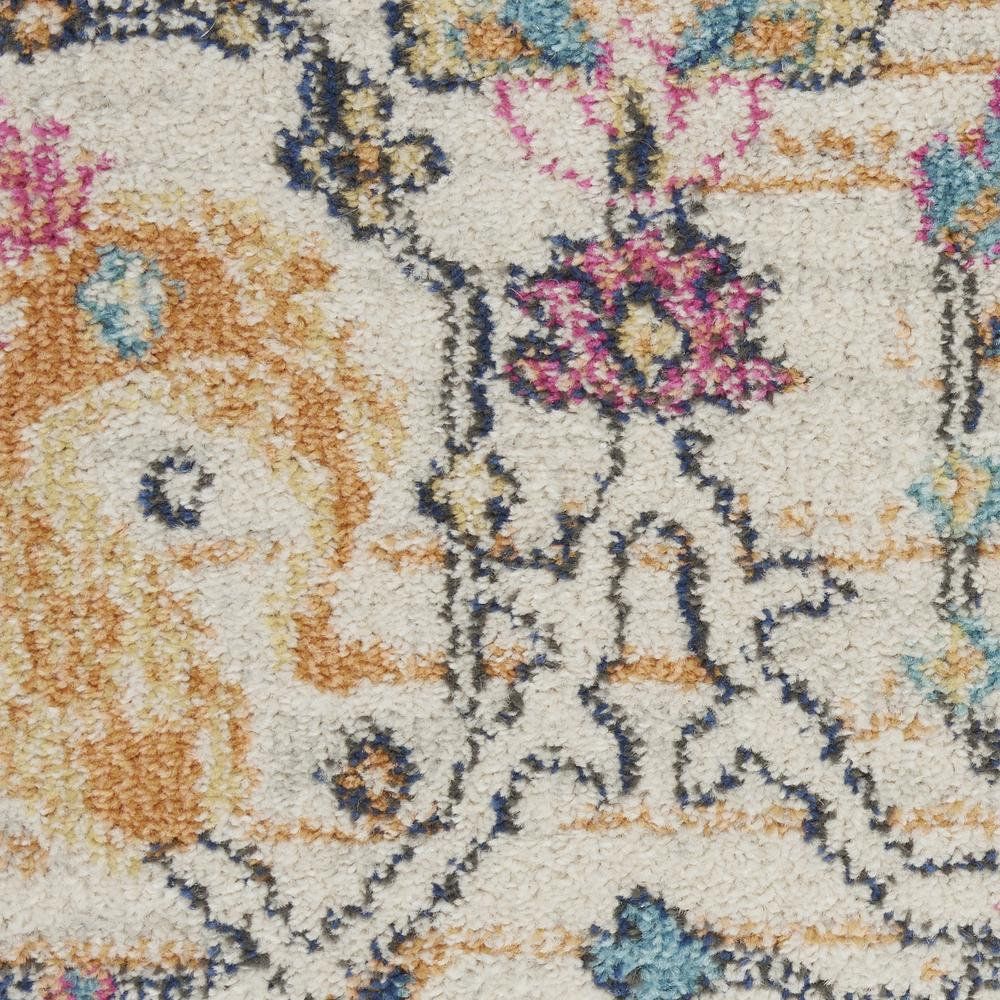 4' Round Ivory and Multicolor Floral Buds Area Rug - 385209. Picture 6