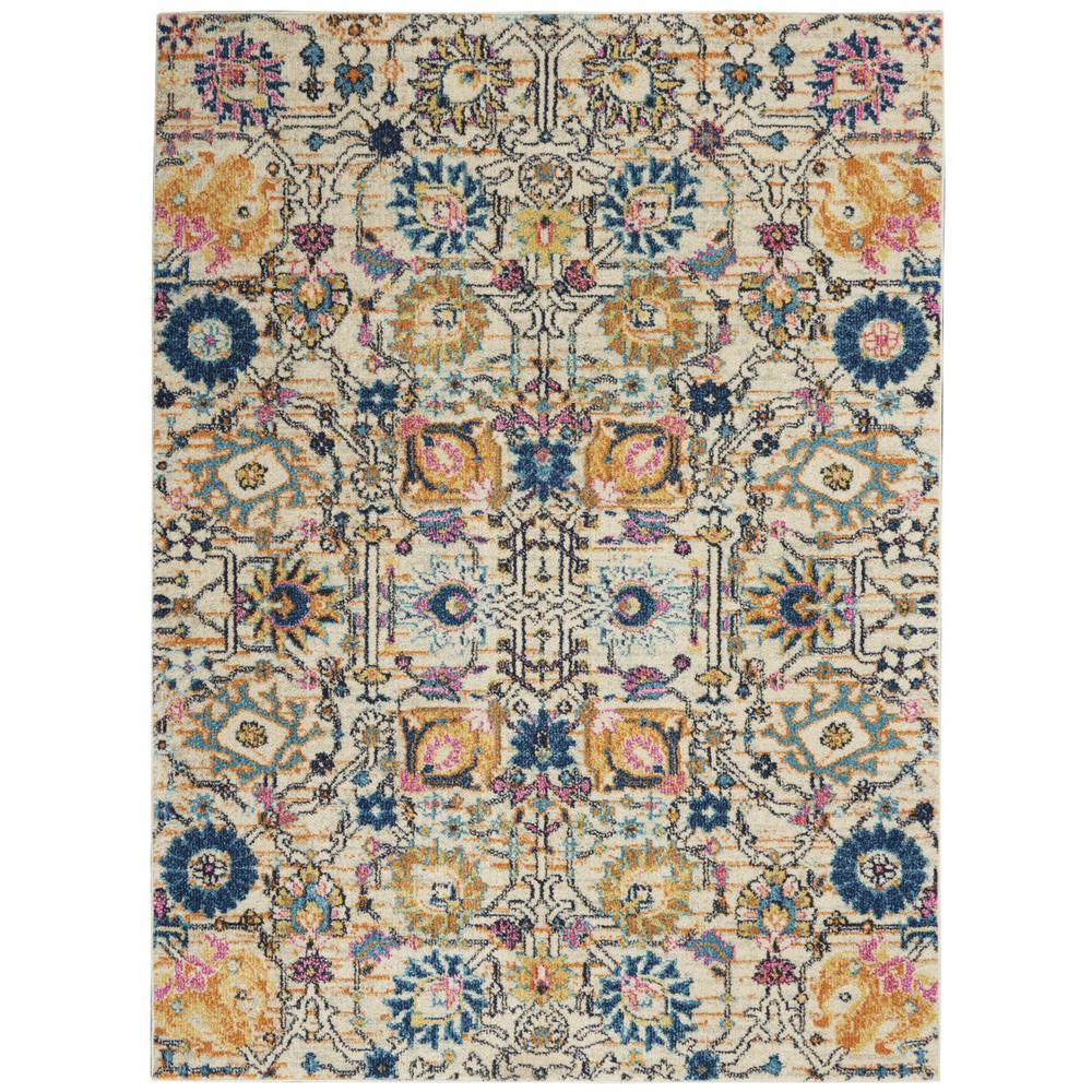 5' x 7' Ivory and Multicolor Floral Buds Area Rug - 385211. Picture 1