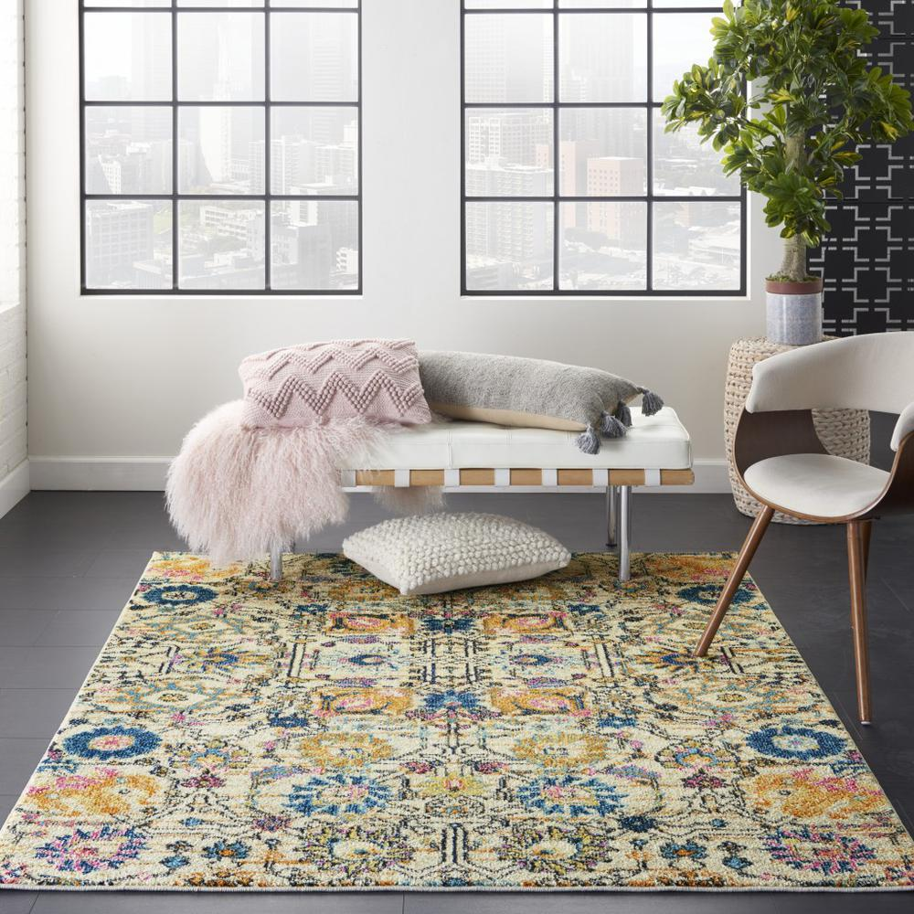 5' x 7' Ivory and Multicolor Floral Buds Area Rug - 385211. Picture 4