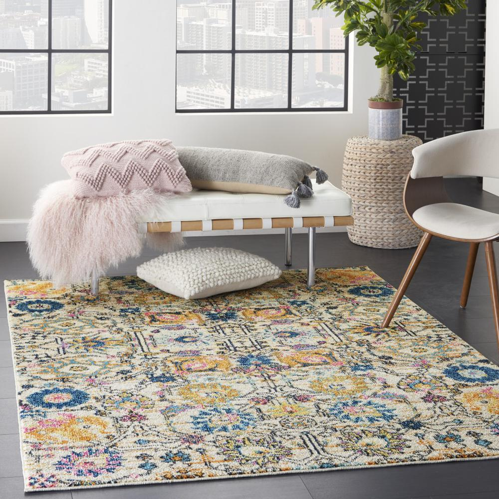 5' x 7' Ivory and Multicolor Floral Buds Area Rug - 385211. Picture 6