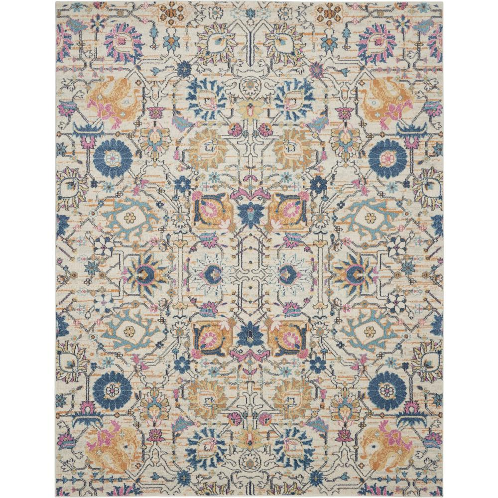 7' x 10' Ivory and Multicolor Floral Buds Area Rug - 385215. Picture 1