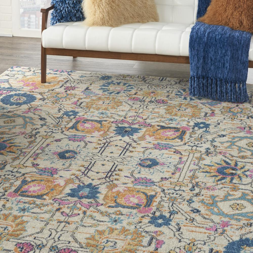 7' x 10' Ivory and Multicolor Floral Buds Area Rug - 385215. Picture 5