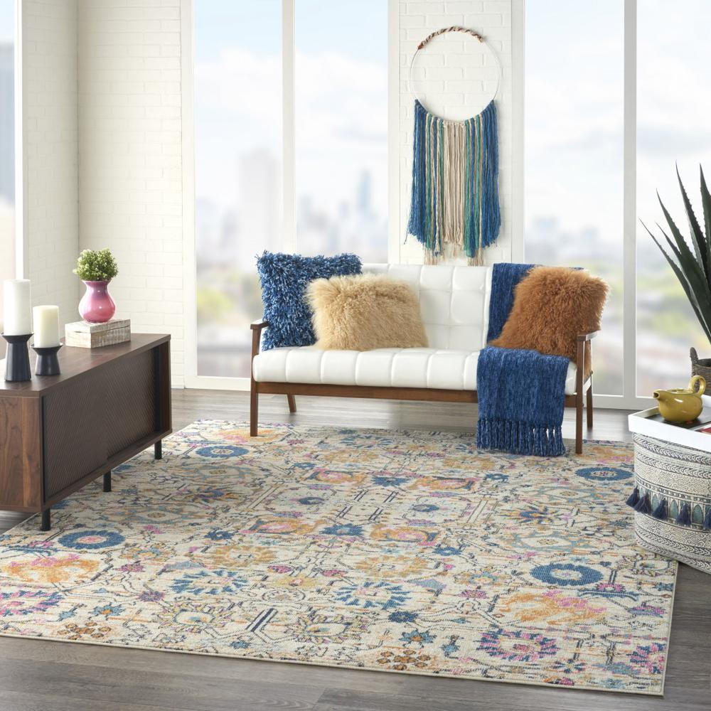 7' x 10' Ivory and Multicolor Floral Buds Area Rug - 385215. Picture 6