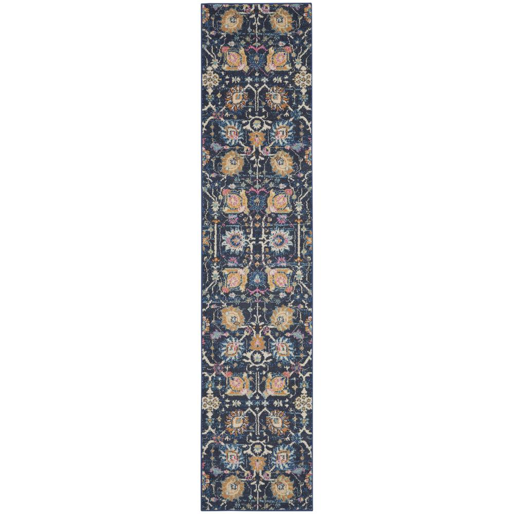 2' x 10' Navy Blue Floral Buds Runner Rug - 385221. Picture 1