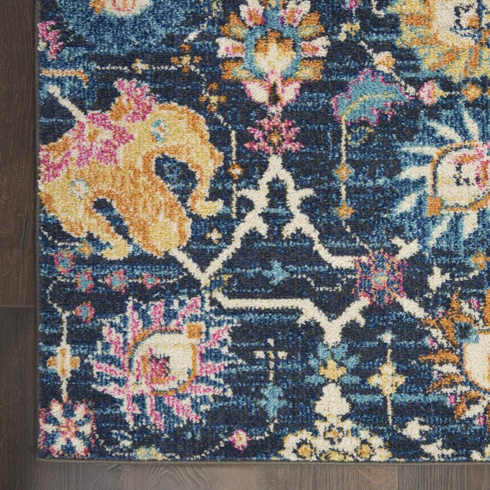 2' x 10' Navy Blue Floral Buds Runner Rug - 385221. Picture 2