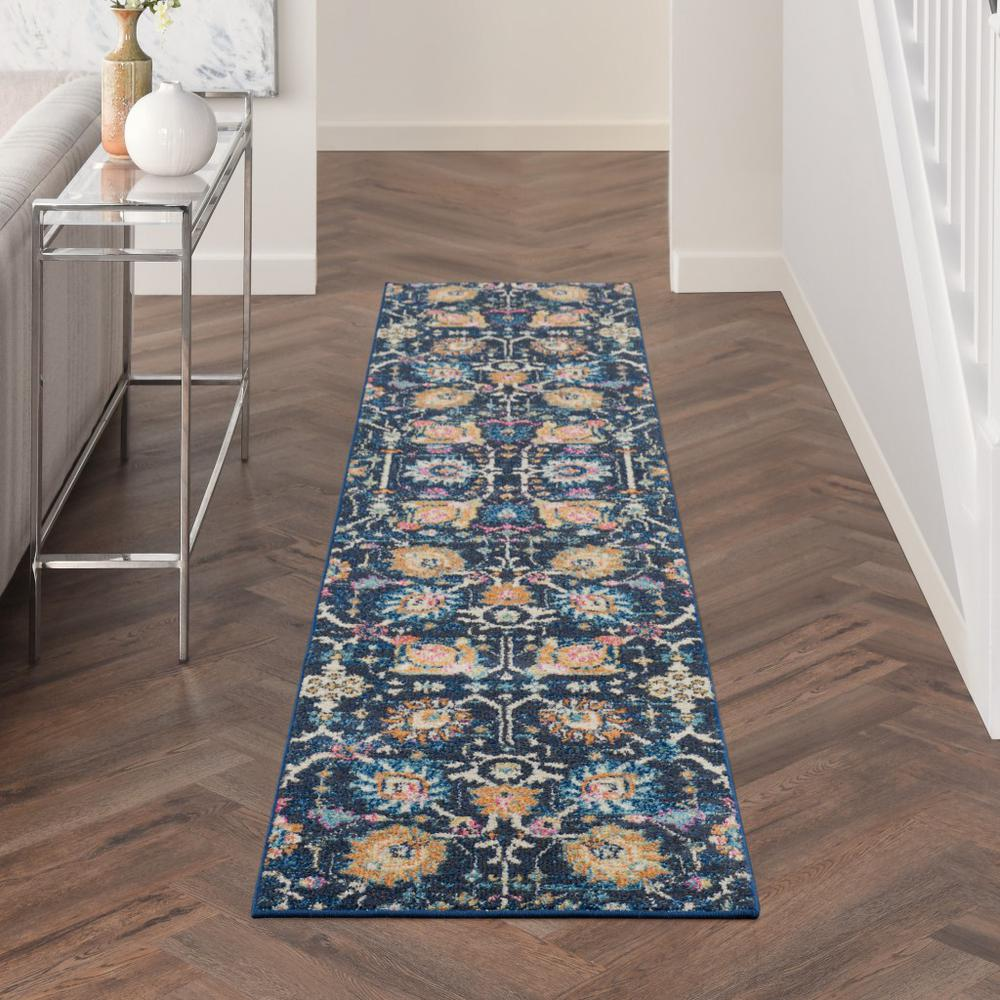 2' x 10' Navy Blue Floral Buds Runner Rug - 385221. Picture 4