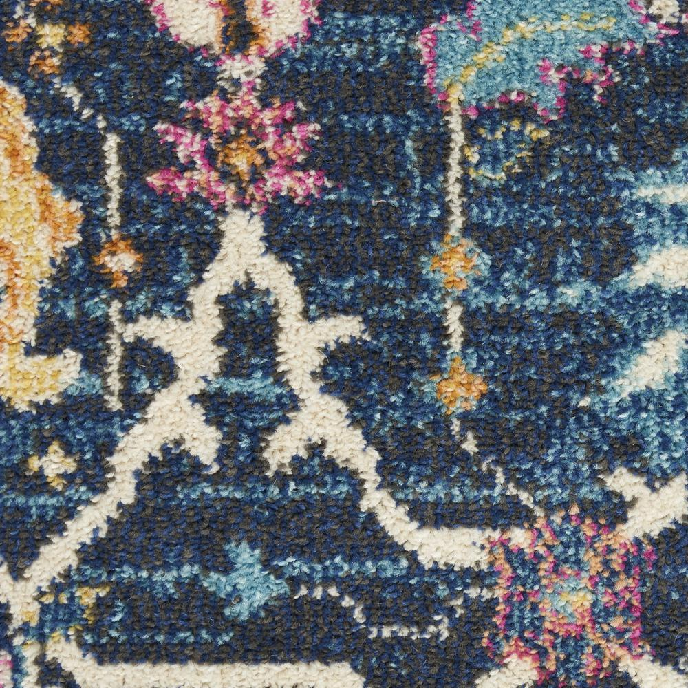 2' x 10' Navy Blue Floral Buds Runner Rug - 385221. Picture 5