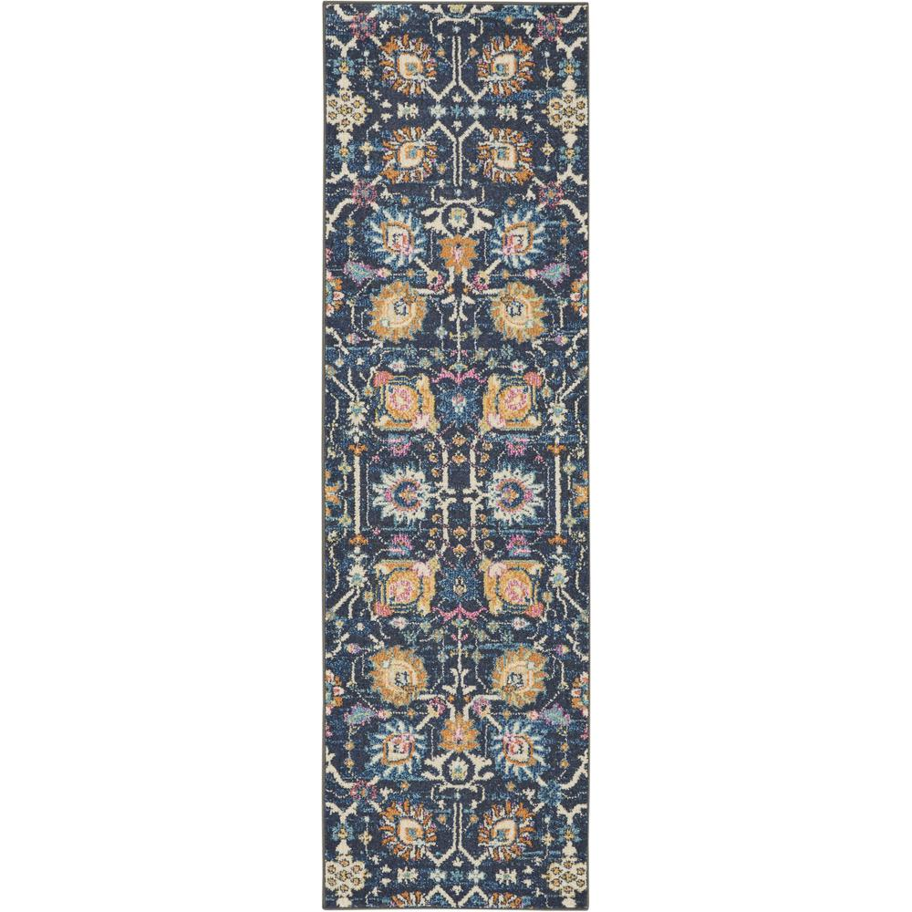 2' x 8' Navy Blue Floral Buds Runner Rug - 385223. Picture 1