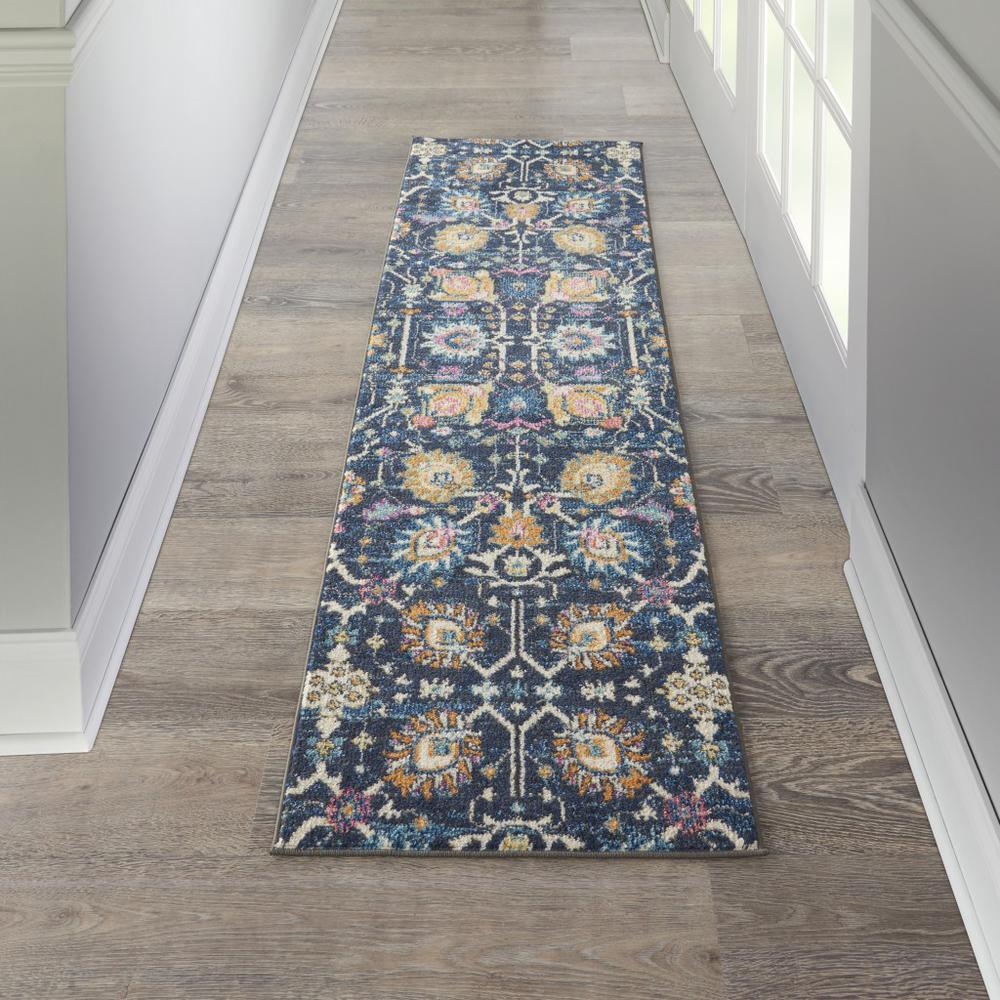 2' x 8' Navy Blue Floral Buds Runner Rug - 385223. Picture 4